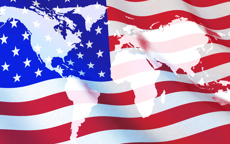 state: Flag USA and world map (done in 3d rendering) Stock Photo