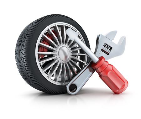 Icon repair wheel on a white background (done in 3d rendering)