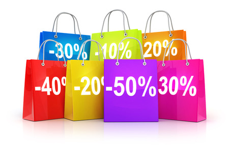 Many shop bag and discount (done in 3d rendering)  Stock Photo