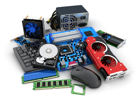 Laptop and computer parts (done in 3d rendering)