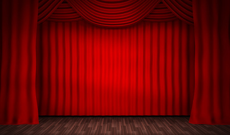 empty stage: Empty stage for performances and red curtain. 3d illustration Stock Photo