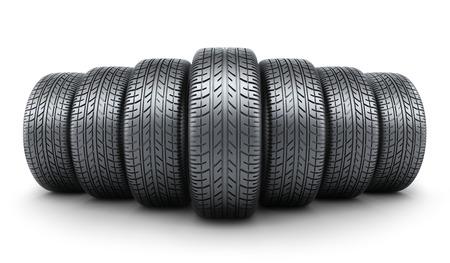 car wheels: Row tire car white background Stock Photo
