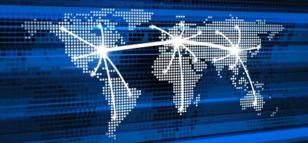telecommunications: Abstract telecommunication in world. 3d illustration Stock Photo