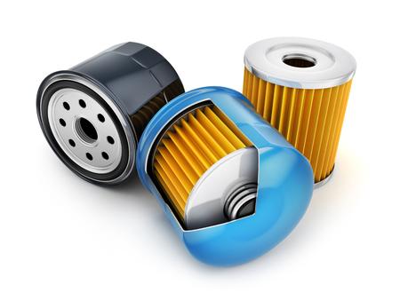 Trois filtre à huile sur fond blanc. illustration 3d Banque d'images