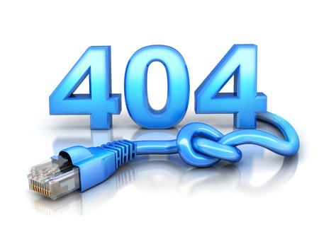Internet cable and disconnect error 404 on white background. 3d illustration