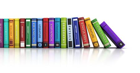 hilera: Fila de los libros y fondo blanco. 3d ilustración Foto de archivo