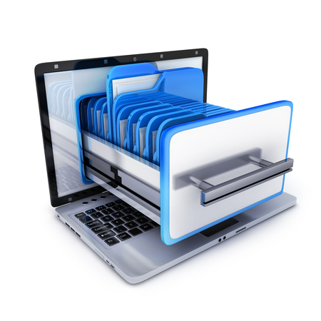 pc: laptop and many folder, on white background. 3d illustration