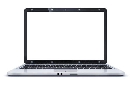 laptop screen: Laptop isolated and empty white screen. 3d illustration