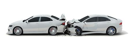 Two car crash on white background. 3d illustration Banque d'images