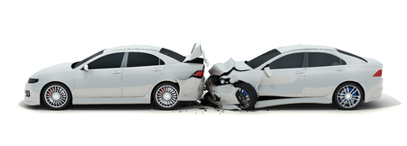 breakage: Two car crash on white background. 3d illustration Stock Photo
