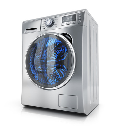 white clothes: Modern clothes washer on white background. 3d illustration Stock Photo