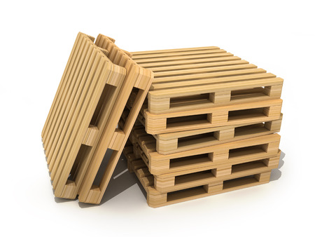 Cargo box and pallet on white background. 3d illustration