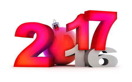 Funny new year 2017 on white background. 3d illustration Stock Photo
