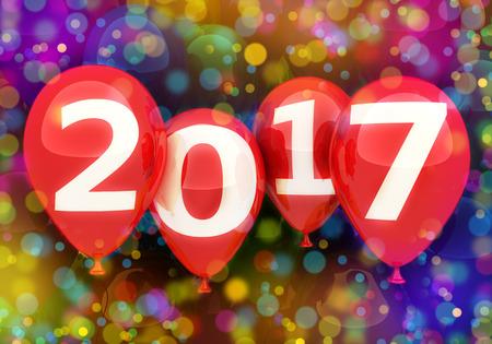 Sign new year 2017 on balloon. 3d illustration