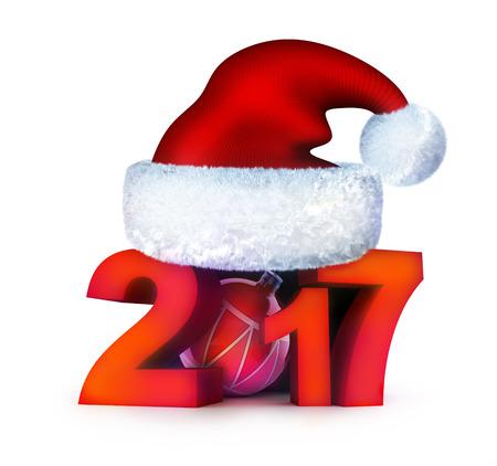 Funny new year 2017 and santa cap. 3d illustration Stock Photo