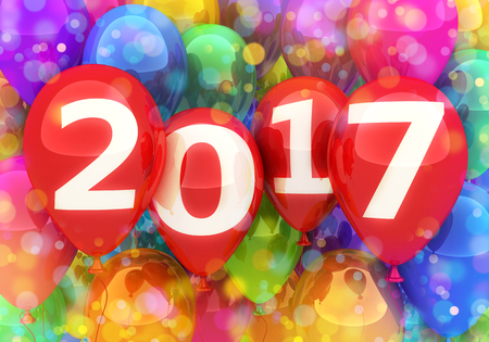 newyear: Sign new year 2017 on balloon. 3d illustration