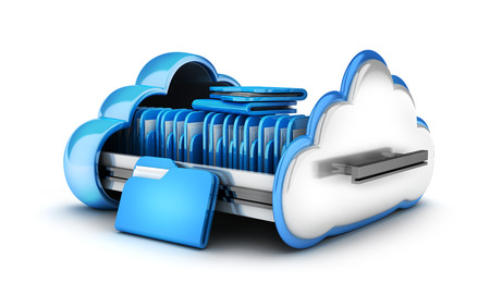Abstract cloud storage and file. 3d illustration