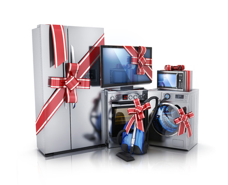 Gift modern consumer electronics, Fridge, washer, tv, microwave and electric-cooker. 3d illustration Stock Photo
