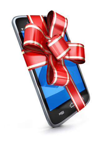 Phone and red ribbon gift. 3d illustration Stock Photo