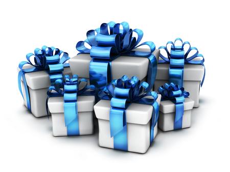 Muchos regalos y cinta azul y fondo blanco. Ilustración 3d