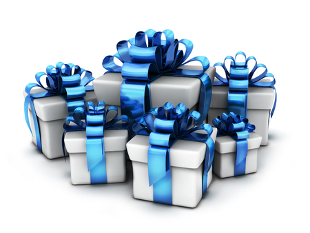 Many gifts and blue ribbon and white background. 3d illustration