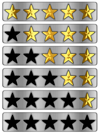 classify: Gold Star rating on white background. 3d illustration