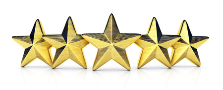 Five gold star, rating. 3d illustration Stock Photo