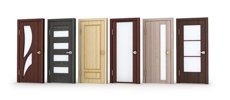 puertas de madera: Seis puertas fila en el fondo blanco. Ilustración 3D.