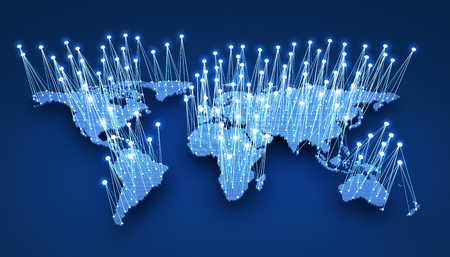 World-wide web on blue background. 3d illustration  Stock Photo
