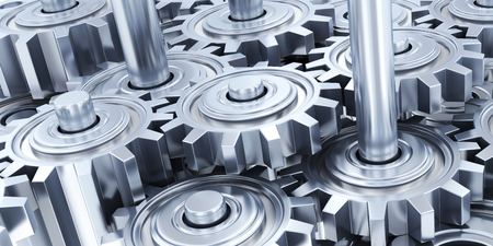 uniting: Many steel gear background. 3d illustration Stock Photo