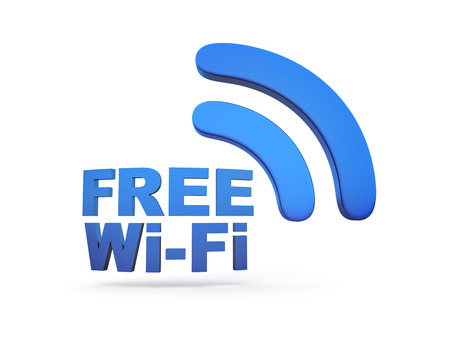 free illustration: Abstract free Wi-fi on white background. 3d illustration Stock Photo