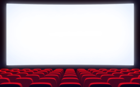 cinematograph: Empty cinema hall and white screen. 3d illustration