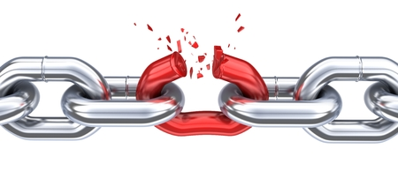 Chain and broken red link. 3d illustration