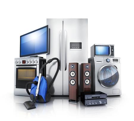Consumenten- en thuiselektronica. TV, koelkast, stofzuiger, magnetron, wasmachine en elektrische kookplaat. 3D illustratie