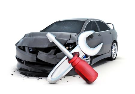 Autounfall und Reparatur-Symbol auf weißem Hintergrund (in 3d)