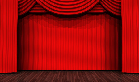 Empty stage for performances and red curtain. 3d illustration Stock Photo