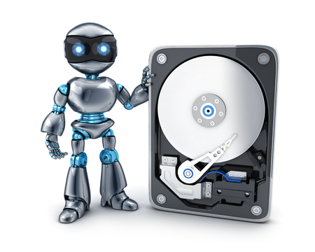 spares: Robot and HDD database abstract. 3d illustration  Stock Photo