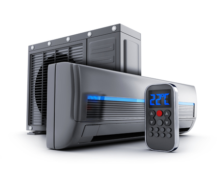 black background: black air-conditioner on white background. 3d illustration