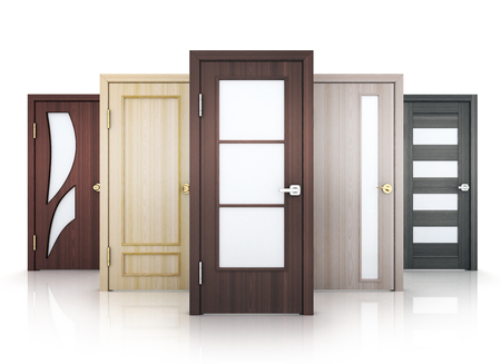 Five doors row on white background. 3d illustration.
