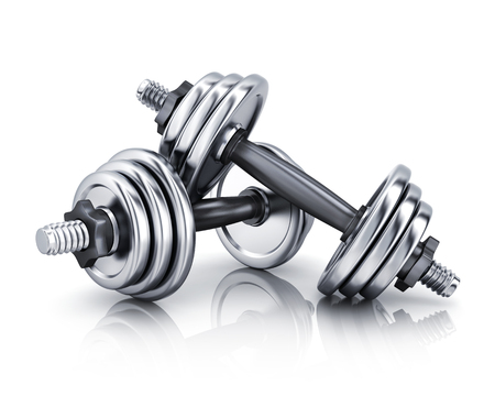 dumbbells on white background. 3d illustration (isolated) Stok Fotoğraf