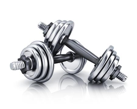 pesas: pesas en el fondo blanco. Ilustración 3d (aislado)
