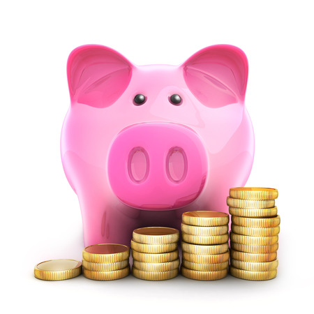 receptacle: piggy bank and coinns. 3d illustration (isolated)