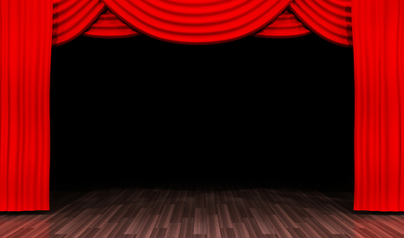 empty stage with black background and red curtain. 3d illustration