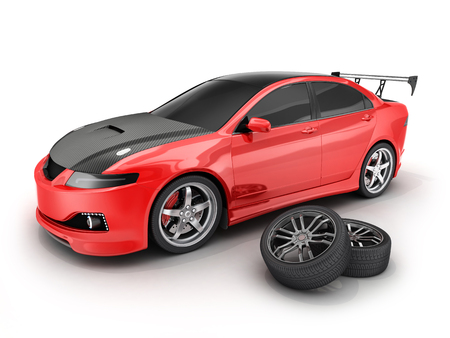 sportcar: Red sport car and wheel. 3d illustration