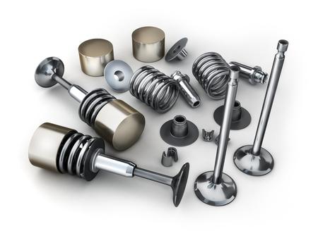 Car engine valve on white background. 3d illustration