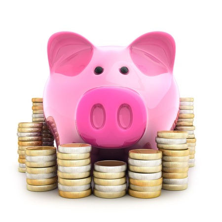 pink pig piggy-bank and coinns. 3d illustration