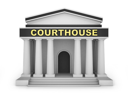 courthouse: Courthouse building small. 3d illustration Stock Photo