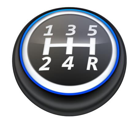 Handgeschakelde versnellingsbak auto. 3d illustratie Stockfoto