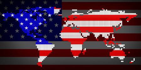 symbolical: Flag USA and world map. 3d illustration