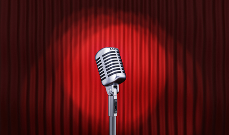 Microphone and Red stage curtain. 3d illustration